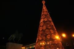 Christmas tree lit. Royalty Free Stock Photo