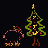 Christmas tree and a little pig skating and wearing a hat, black royalty free illustration