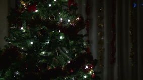 Christmas tree in living room stock footage