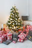 Christmas tree in living room Royalty Free Stock Photos