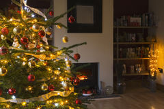 Christmas tree in living room Stock Image