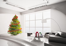 Christmas tree in living room interior 3d Stock Photography
