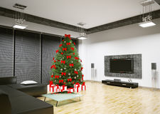 Christmas tree in living room interior 3d render Royalty Free Stock Photography