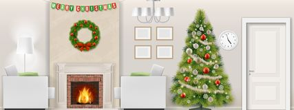 Christmas tree in living room interior with fireplace. Modern living room interior with christmas tree, furniture and fireplace. Vector illustration Royalty Free Stock Photos