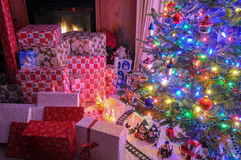 Christmas tree in the livingroom Royalty Free Stock Image