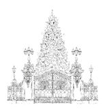 Christmas tree in London, sketch, Kid's dreams Stock Photography