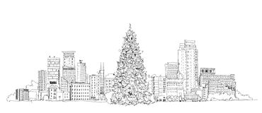 Christmas tree in London, sketch, Kid's dreams Royalty Free Stock Images