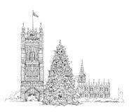 Christmas tree in London, sketch, Kid's dreams Stock Photo