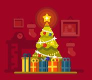 Christmas tree with lots of gift boxes. Christmas tree with lots of gift boxes in interior. Flat style vector Stock Photos