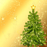 Christmas Tree. Luxury Card Christmas. Christmas tree on a golden background Stock Illustration