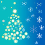Christmas tree made of abstract white snowflakes Royalty Free Stock Photos