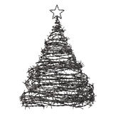 Christmas Tree Made From Barbed Wire. 3D Model Stock Photos