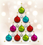 Christmas tree made of baubles, glowing background Stock Images