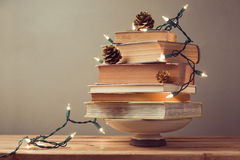 Christmas tree made from books. Alternative Christmas tree Royalty Free Stock Photo