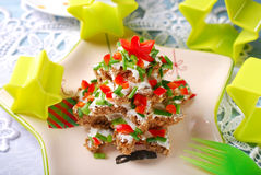 Christmas tree made from  bread with cheese and chive Royalty Free Stock Photos