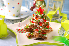 Christmas tree made from  bread with cheese and chive Royalty Free Stock Image