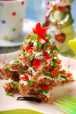 Christmas tree made from  bread with cheese and chive Stock Photos