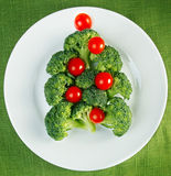 Christmas tree made from broccoli Royalty Free Stock Photo