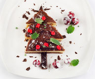 Christmas Tree made of  cake with mint Stock Images