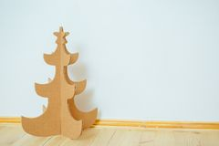 Christmas Tree Made Of Cardboard. New Year royalty free stock photos