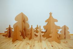 Christmas Tree Made Of Cardboard. New Year Stock Photo