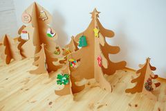 Christmas Tree Made Of Cardboard. New Year Royalty Free Stock Photography
