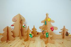 Christmas Tree Made Of Cardboard. New Year Stock Photos