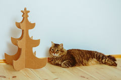 Christmas Tree Made Of Cardboard. New Year Stock Images