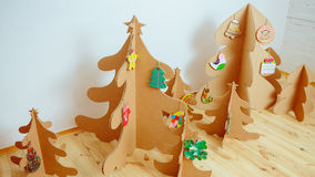 Christmas Tree Made Of Cardboard. New Year Stock Image