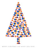Christmas tree made of Christmas decorations Stock Photo