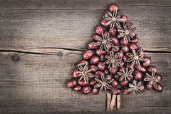 Christmas tree made of cinnamon, anise and dog-rose Royalty Free Stock Images