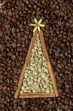 Christmas tree made of cinnamon sticks and coffee Stock Images