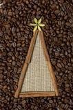 Christmas tree made of cinnamon sticks and coffee Stock Image