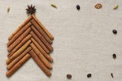 Christmas tree made of cinnamon sticks Stock Photos