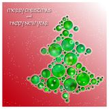 Christmas tree made of circles cut the paper. Falling snow. Bright abstract glowing background. Greeting card. Invitation. Vector illustration. Eps 10 Royalty Free Stock Photos