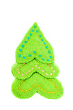 Christmas tree made of cloth on a white background. Royalty Free Stock Photo
