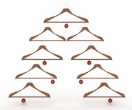 Christmas tree made of clothes hangers decorated Stock Photos