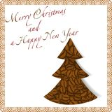 Christmas tree made of coffee beans Royalty Free Stock Image