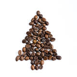 Christmas tree made of coffee beans Stock Photography