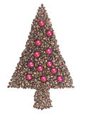Christmas tree made of coffee beans isolated Royalty Free Stock Image