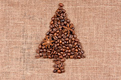 Christmas tree made of coffee beans Royalty Free Stock Photography