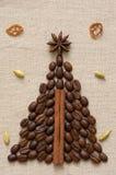Christmas tree made of coffee and cinnamon Royalty Free Stock Image