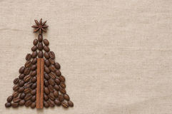 Christmas tree made of coffee and cinnamon Royalty Free Stock Photography