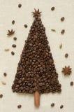 Christmas tree made of coffee and cinnamon Royalty Free Stock Photos