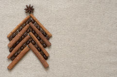 Christmas tree made of coffee and cinnamon Royalty Free Stock Photo