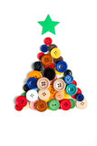 Christmas tree made with colored buttons Royalty Free Stock Photos