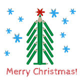Christmas tree made of colored pencils and the words Merry Christmas Stock Images