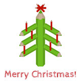 Christmas tree made of colored pencils and the words Merry Christmas Royalty Free Stock Photo