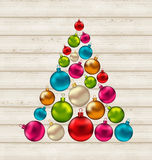 Christmas tree made of colorful balls on wooden background. Illustration Christmas tree made of colorful balls on wooden background - vector stock illustration
