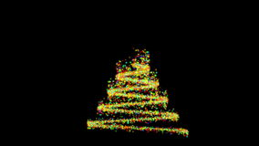 Christmas tree made from colorful particles, against black stock footage